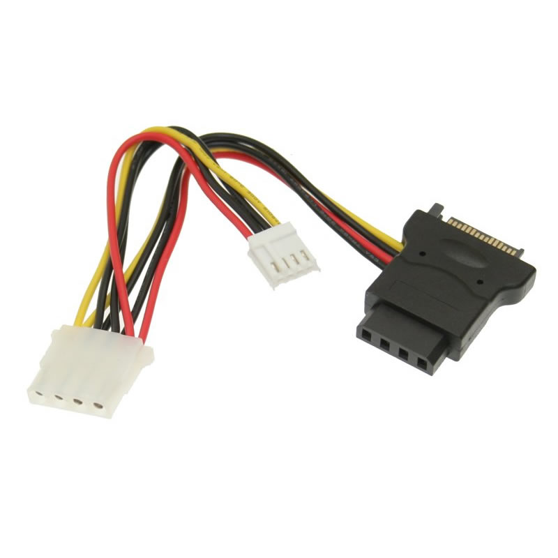 SATA power to 4 Pin Molex and 4 Pin Floppy Power Cable Y Adapter 5 inch Cables