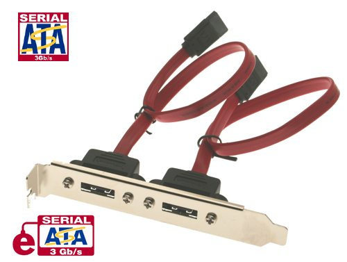 10 inch eSATA Dual Port Internal to External Adapter PCI Bracket