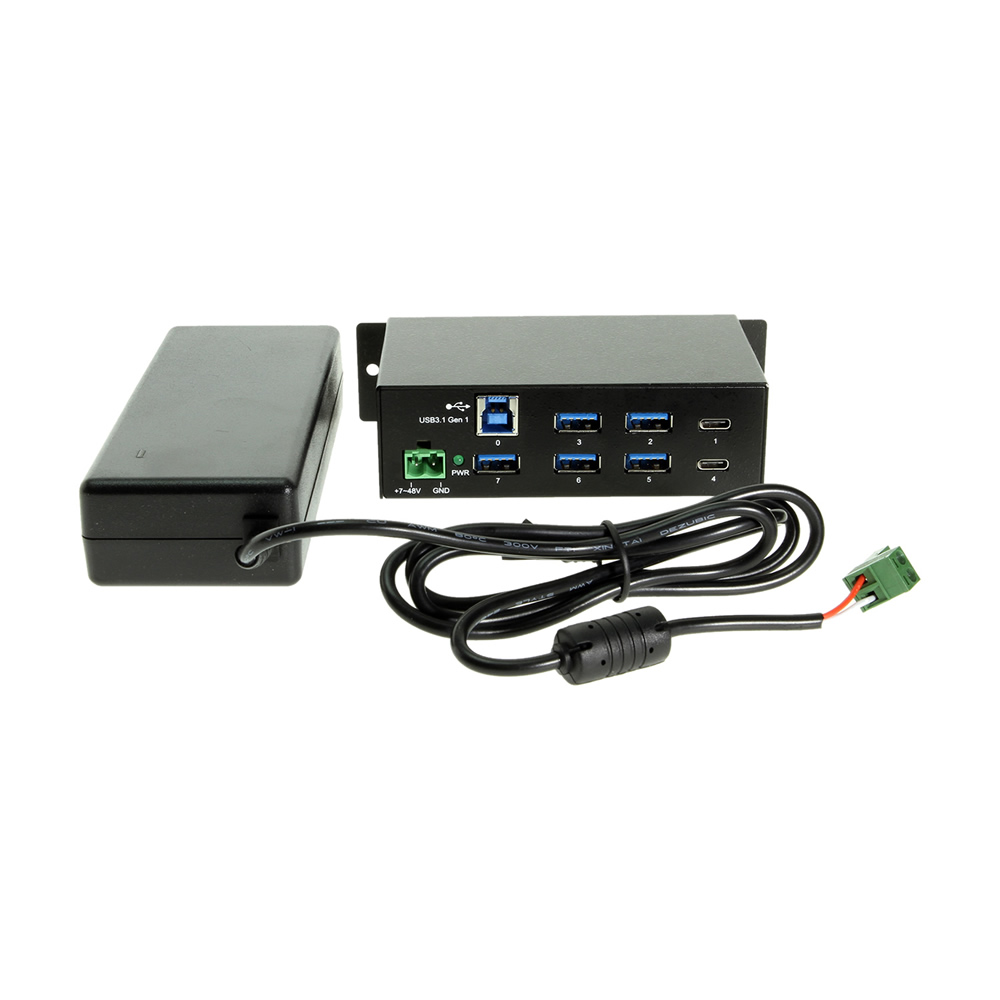 USB-C 7 Port Hub 2X Type-C 5X Type-A - DIN Rail - Power Adapter