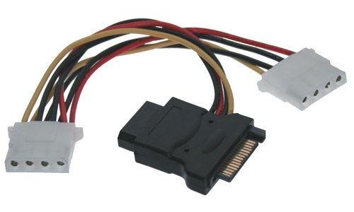SATA 15-Pin Power to 4-Pin Molex Power Y-Cable (2x 4 Pin and 1X 15 pin )